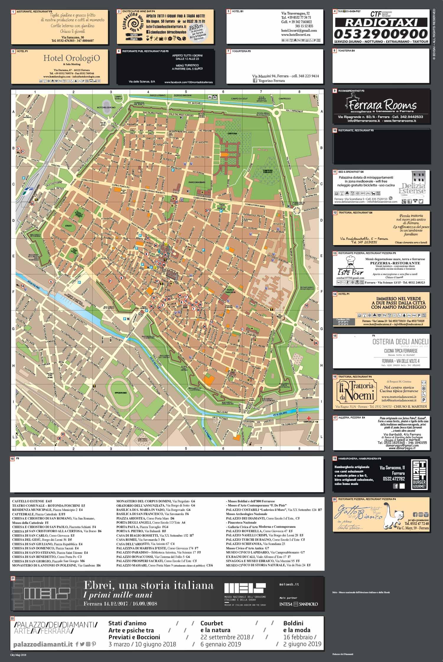 Mappa della città di Ferrara 2018
